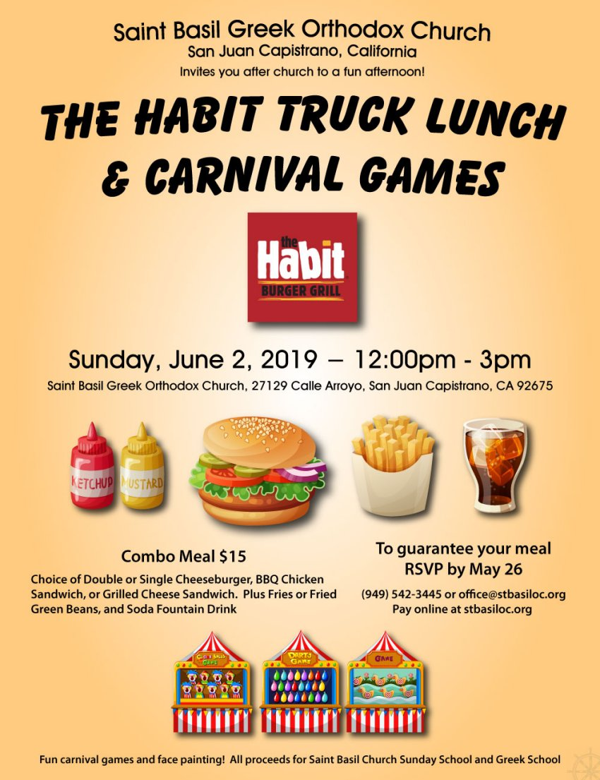 [Orange County Habit Truck Lunch and Carnival Games in San Juan Capistrano, California]